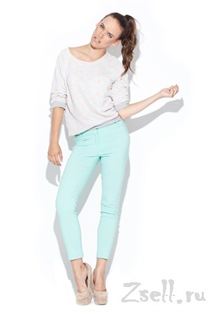 Узкие брюки-стрейч мятного цвета - фото 1511