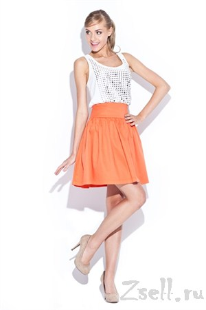 Яркая оранжевая юбка-солнце - фото 1669