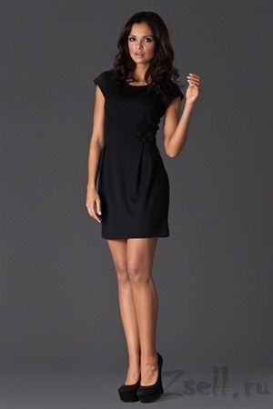 Платье-тюльпан черное на каждый день - фото 2069