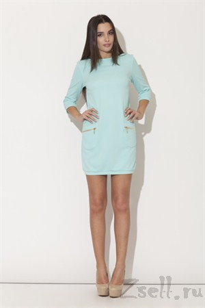 Платье туника, цвета аквамарин - фото 2075