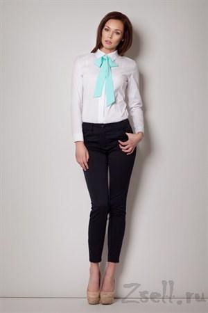 Белая рубашка с черным бантом - фото 2100