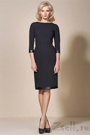 Черное платье с кожаными вставками - фото 2168