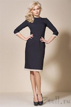 Черное платье с кожаными вставками - фото 2173