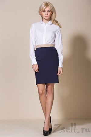 Классическая синяя юбка - фото 2394