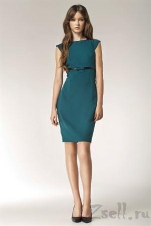 Зеленое коктейльное платье - фото 2445