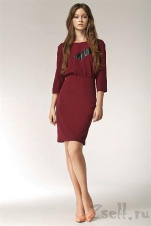 Бордовое повседневное платье - фото 2484