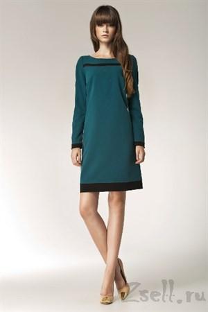 """Зеленое платье с модным """"принтом"""" - фото 2539"""