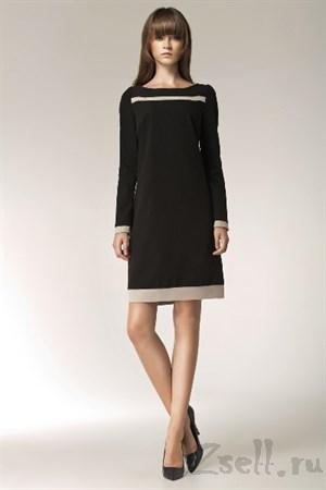 Черное платье с модным принтом - фото 2544