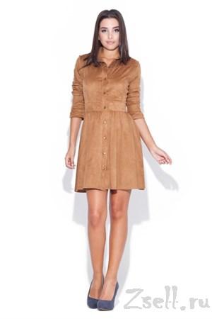 Бежевое платье рубашка - фото 2554