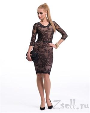 Элегантное коктейльное платье с кружевом - фото 2792