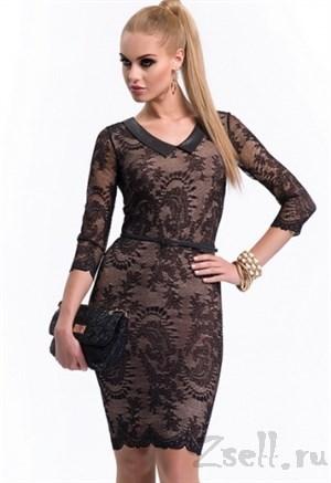 Элегантное коктейльное платье с кружевом - фото 2793
