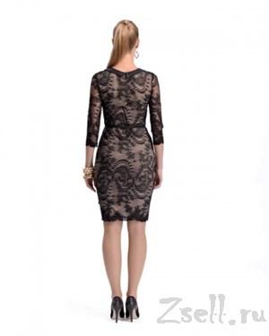 Элегантное коктейльное платье с кружевом - фото 2794