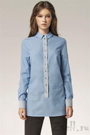 Длинная голубая рубашка - фото 2799