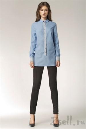 Длинная голубая рубашка - фото 2800