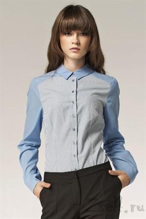Голубая рубашка в полосочку - фото 2807