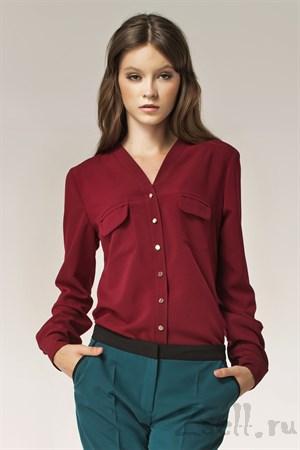 Изысканная бордовая блуза - фото 2880