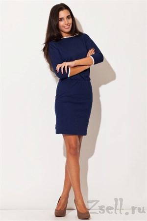 Синее трикотажное платье - фото 3004