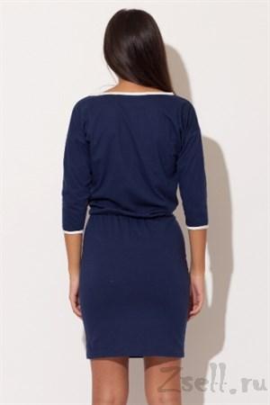 Синее трикотажное платье - фото 3005