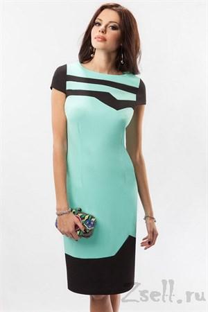 Голубое платье футляр - фото 3083