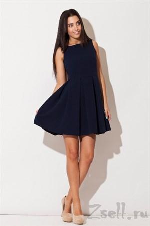Синее платье с расклешенной юбкой - фото 3302