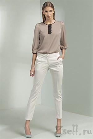 Белые зауженные брюки - фото 3384