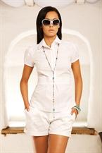 Белая рубашка поло, приталенная