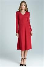 Nife Красное приталенное платье с юбкой трапецией