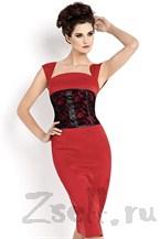 Платье футляр с кружевным корсетом