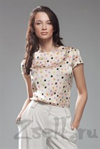 Блуза в горох с коротким рукавом