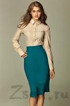 Прямая юбка длины миди, цвета лазурь
