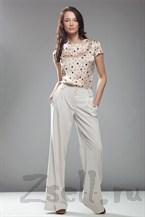 Стильные широкие брюки, цвет белый крем