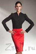 Атласная юбка-карандаш красная