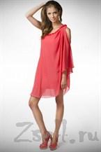 Легкое коктейльное платье, цвета коралл