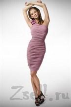 Платье сиреневое с асимметричным плечом