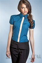 Рубашка цвета лазурь, с рукавами фонариками