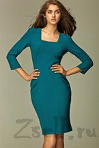Повседневное платье с драпировкой-лазурь