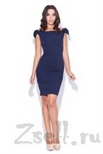 Кокетливое темно синее платье