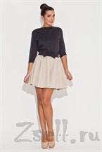 Бежевая юбка-солнце с черным поясом