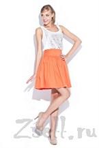 Яркая оранжевая юбка-солнце