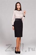 Черная юбка с атласным поясом