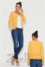 Жёлтый жакет с драпировкой на спине