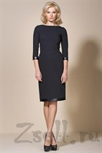 Черное платье с кожаными вставками