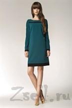"""Зеленое платье с модным """"принтом"""""""