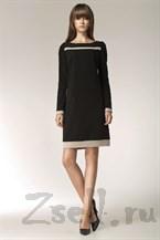 Черное платье с модным принтом