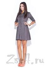 Серое стильное платье-рубашка