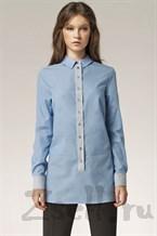 Длинная голубая рубашка