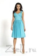 Небесно-голубое коктейльное платье