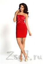 Красное коктейльное платье без лямок