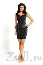Черное платье футляр с баской