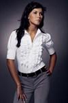 Рубашка с воротником жабо рукав короткий - фото 236